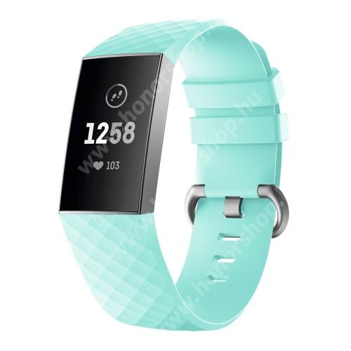 Okosóra szíj - szilikon, 255mm hosszú, L-es méret - MENTAZÖLD - Fitbit Charge 3 / Fitbit Charge 3 SE / Fitbit Charge 4