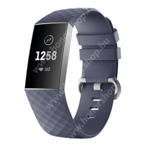 Okosóra szíj - szilikon, 255mm hosszú, L-es méret - LILA - Fitbit Charge 3 / Fitbit Charge 3 SE / Fitbit Charge 4