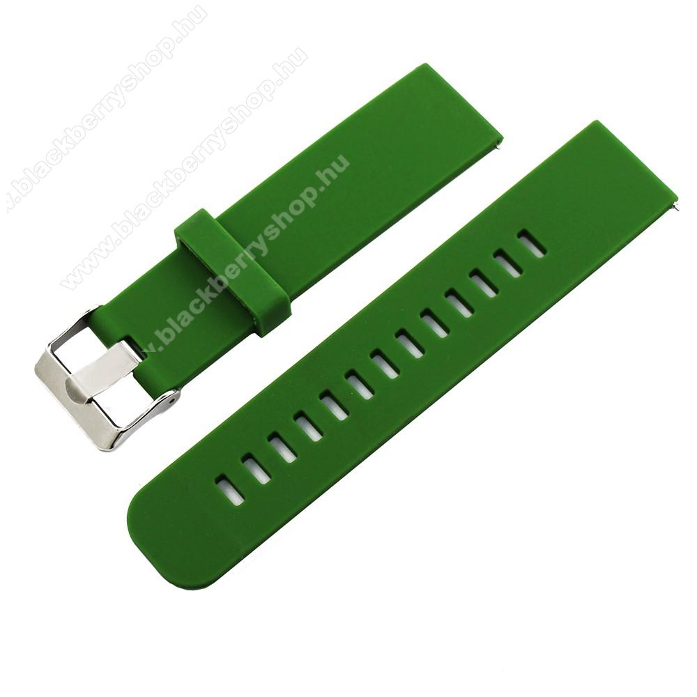 Okosóra szíj - szilikon, 85mm + 100mm hosszú, 20mm széles - ZÖLD - SAMSUNG Galaxy Watch 42mm / Xiaomi Amazfit GTS / SAMSUNG Gear S2 / HUAWEI Watch GT 2 42mm / Galaxy Watch Active / Active 2
