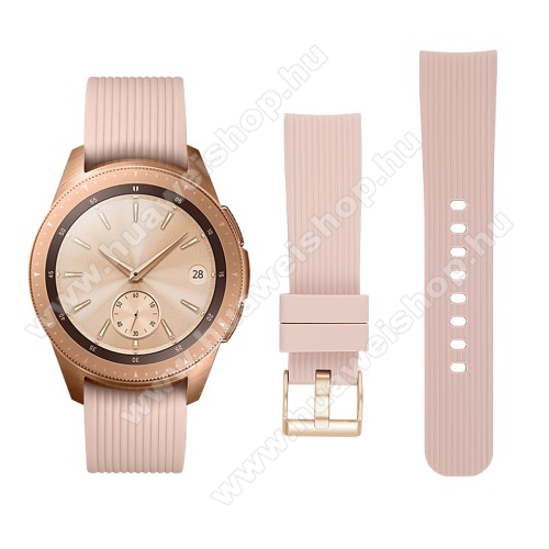 HUAWEI Watch GT 2 42mmOkosóra szíj - szilikon - BÉZS - SAMSUNG Galaxy Watch 42mm / HUAWEI Watch GT 2 42mm