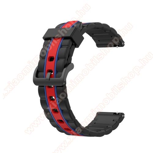 Okosóra szíj - szilikon, bordázott mintás - FEKETE / PIROS / KÉK - 125+84mm hosszú, 20mm széles, 155mm-től 228mm-es méretű csuklóig ajánlott - SAMSUNG Galaxy Watch 42mm / Xiaomi Amazfit GTS / HUAWEI Watch GT 2 42mm / Galaxy Watch Active / Active 2