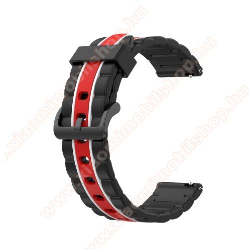 Okosóra szíj - szilikon, bordázott mintás - FEKETE / PIROS / FEHÉR - 125+84mm hosszú, 20mm széles, 155mm-től 228mm-es méretű csuklóig ajánlott - SAMSUNG Galaxy Watch 42mm / Xiaomi Amazfit GTS / HUAWEI Watch GT 2 42mm / Galaxy Watch Active / Active 2