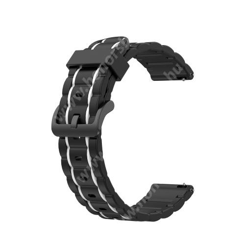 HUAWEI Watch GT 2 42mm Okosóra szíj - szilikon, bordázott mintás - FEKETE / FEHÉR - 125+84mm hosszú, 20mm széles, 155mm-től 228mm-es méretű csuklóig ajánlott - SAMSUNG Galaxy Watch 42mm / Xiaomi Amazfit GTS / HUAWEI Watch GT 2 42mm / Galaxy Watch Active / Active 2