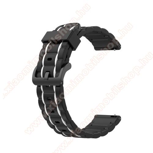 Xiaomi Amazfit BIP LiteOkosóra szíj - szilikon, bordázott mintás - FEKETE / FEHÉR - 125+84mm hosszú, 20mm széles, 155mm-től 228mm-es méretű csuklóig ajánlott - SAMSUNG Galaxy Watch 42mm / Xiaomi Amazfit GTS / HUAWEI Watch GT 2 42mm / Galaxy Watch Active / Active 2