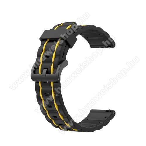 Okosóra szíj - szilikon, bordázott mintás - FEKETE / CITROMSÁRGA - 125+84mm hosszú, 22mm széles, 155mm-től 228mm-es méretű csuklóig ajánlott - HUAWEI Watch GT / HUAWEI Watch Magic / MagicWatch 2 46mm / Watch GT 2 46mm