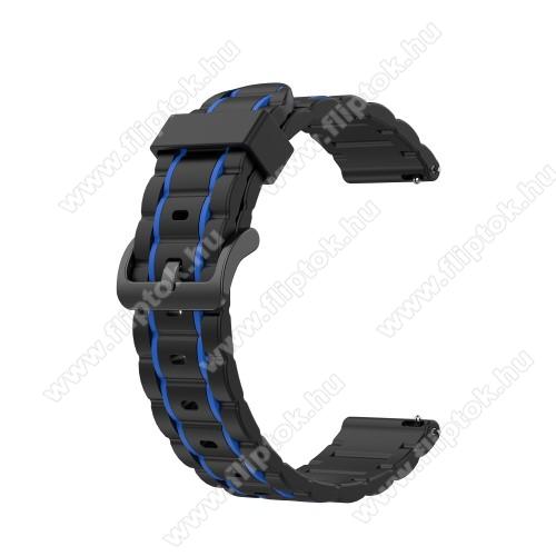 Xiaomi Watch ColorOkosóra szíj - szilikon, bordázott mintás - FEKETE / SÖTÉTKÉK - 125+84mm hosszú, 22mm széles, 155mm-től 228mm-es méretű csuklóig ajánlott - HUAWEI Watch GT / HUAWEI Watch Magic / MagicWatch 2 46mm / Watch GT 2 46mm