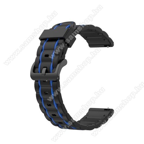 SAMSUNG SM-R760 Gear S3 FrontierOkosóra szíj - szilikon, bordázott mintás - FEKETE / SÖTÉTKÉK - 125+84mm hosszú, 22mm széles, 155mm-től 228mm-es méretű csuklóig ajánlott - HUAWEI Watch GT / HUAWEI Watch Magic / MagicWatch 2 46mm / Watch GT 2 46mm