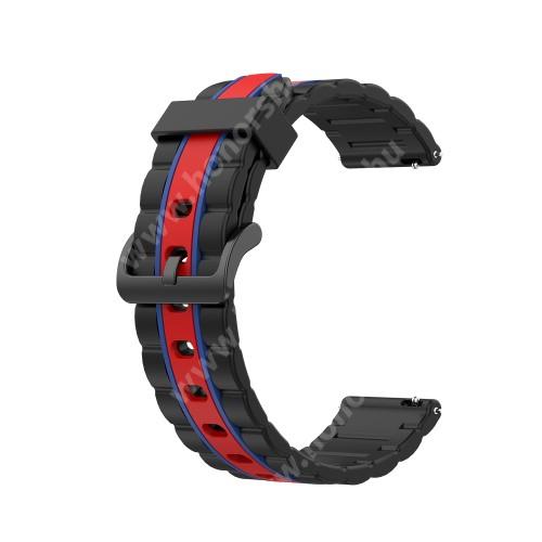HUAWEI Watch Magic Okosóra szíj - szilikon, bordázott mintás - FEKETE / PIROS / KÉK - 125+84mm hosszú, 22mm széles, 155mm-től 228mm-es méretű csuklóig ajánlott - HUAWEI Watch GT / HUAWEI Watch Magic / MagicWatch 2 46mm / Watch GT 2 46mm