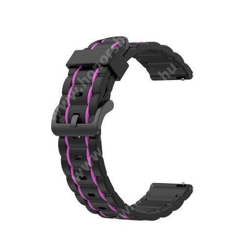 HUAWEI Watch Magic Okosóra szíj - szilikon, bordázott mintás - FEKETE / LILA - 125+84mm hosszú, 22mm széles, 155mm-től 228mm-es méretű csuklóig ajánlott - HUAWEI Watch GT / HUAWEI Watch Magic / MagicWatch 2 46mm / Watch GT 2 46mm