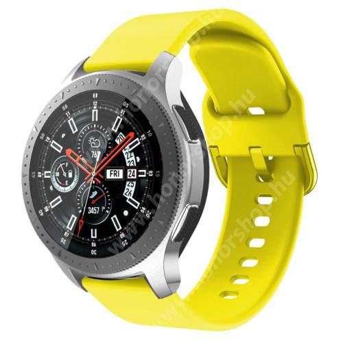 HUAWEI Watch GT 2 Pro 46mm Okosóra szíj - szilikon - CITROMSÁRGA - 116mm + 83mm hosszú, 22mm széles, 130mm-től 205mm-es méretű csuklóig ajánlott - SAMSUNG Galaxy Watch 46mm / SAMSUNG Gear S3 Classic / SAMSUNG Gear S3 Frontier