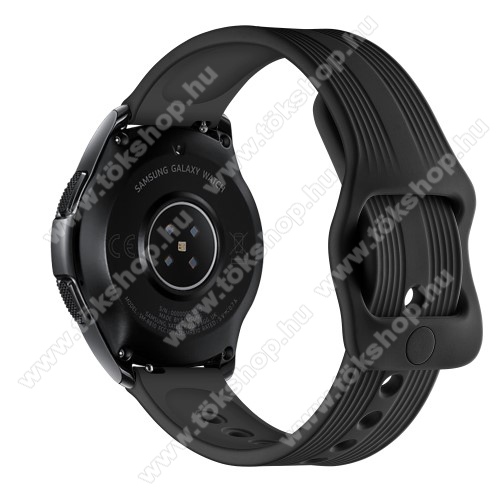 vivo Watch 42mmOkosóra szíj - szilikon, csíkos mintás - 120mm + 105mm hosszú, 20mm széles - FEKETE - SAMSUNG Galaxy Watch 42mm / Xiaomi Amazfit GTS / SAMSUNG Gear S2 / HUAWEI Watch GT 2 42mm / Galaxy Watch Active / Active 2