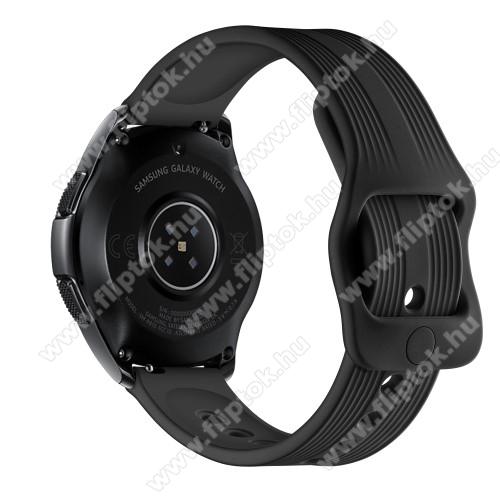 EVOLVEO SPORTWATCH M1SOkosóra szíj - szilikon, csíkos mintás - 120mm + 105mm hosszú, 20mm széles - FEKETE - SAMSUNG Galaxy Watch 42mm / Xiaomi Amazfit GTS / SAMSUNG Gear S2 / HUAWEI Watch GT 2 42mm / Galaxy Watch Active / Active 2