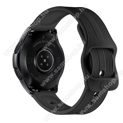 SAMSUNG Galaxy Watch3 41mm (SM-R855F)Okosóra szíj - szilikon, csíkos mintás - 120mm + 105mm hosszú, 20mm széles - FEKETE - SAMSUNG Galaxy Watch 42mm / Xiaomi Amazfit GTS / SAMSUNG Gear S2 / HUAWEI Watch GT 2 42mm / Galaxy Watch Active / Active 2