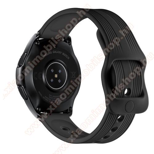 Huami Amazfit Youth Edition LiteOkosóra szíj - szilikon, csíkos mintás - 120mm + 105mm hosszú, 20mm széles - FEKETE - SAMSUNG Galaxy Watch 42mm / Xiaomi Amazfit GTS / SAMSUNG Gear S2 / HUAWEI Watch GT 2 42mm / Galaxy Watch Active / Active 2