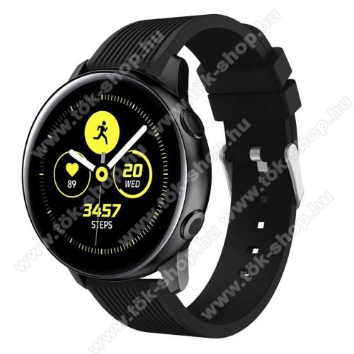 Okosóra szíj - szilikon, csíkos textúra mintás - FEKETE - 78mm + 95mm hosszú, 20mm széles, 139-214mm csuklóméretig ajánlott - SAMSUNG Galaxy Watch 42mm / Xiaomi Amazfit GTS / HUAWEI Watch GT / SAMSUNG Gear S2 / HUAWEI Watch GT 2 42mm / Galaxy Watch Active