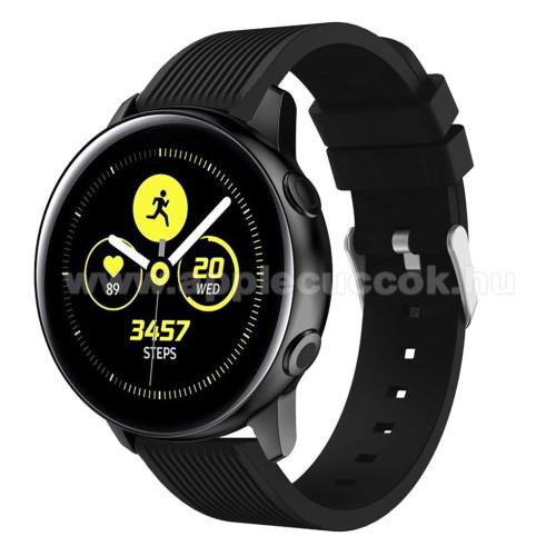 Okosóra szíj - szilikon, csíkos textúra mintás - FEKETE - 78mm + 95mm hosszú, 18mm széles, 139-214mm csuklóméretig ajánlott - SAMSUNG SM-R500 Galaxy Watch Active / SAMSUNG Galaxy Watch Active2 40mm / SAMSUNG Galaxy Watch Active2 44mm