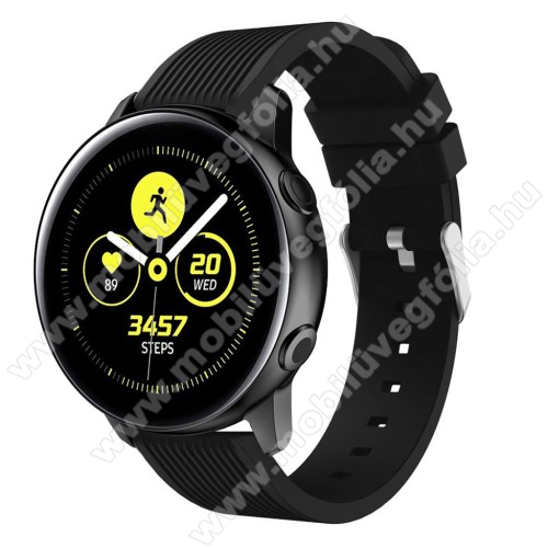 HUAWEI MagicWatch 2 42mm Okosóra szíj - szilikon, csíkos textúra mintás - FEKETE - 78mm + 95mm hosszú, 20mm széles, 139-214mm csuklóméretig ajánlott - SAMSUNG Galaxy Watch 42mm / Xiaomi Amazfit GTS / HUAWEI Watch GT / SAMSUNG Gear S2 / HUAWEI Watch GT 2 42mm / Galaxy Watch Active