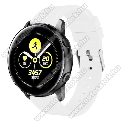 Xiaomi 70mai Saphir Okosóra szíj - szilikon, csíkos textúra mintás - FEHÉR - 125mm + 95mm hosszú, 20mm széles - SAMSUNG Galaxy Watch 42mm / Xiaomi Amazfit GTS / SAMSUNG Gear S2 / HUAWEI Watch GT 2 42mm / Galaxy Watch Active / Active 2