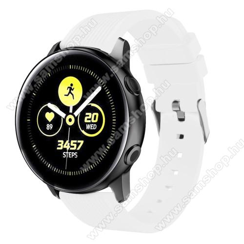 SAMSUNG Galaxy Watch Active2 44mmOkosóra szíj - szilikon, csíkos textúra mintás - FEHÉR - 125mm + 95mm hosszú, 20mm széles - SAMSUNG Galaxy Watch 42mm / Xiaomi Amazfit GTS / SAMSUNG Gear S2 / HUAWEI Watch GT 2 42mm / Galaxy Watch Active / Active 2