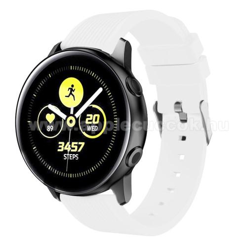 Okosóra szíj - szilikon, csíkos textúra mintás - FEHÉR - 78mm + 95mm hosszú, 18mm széles, 139-214mm csuklóméretig ajánlott - SAMSUNG SM-R500 Galaxy Watch Active / SAMSUNG Galaxy Watch Active2 40mm / SAMSUNG Galaxy Watch Active2 44mm