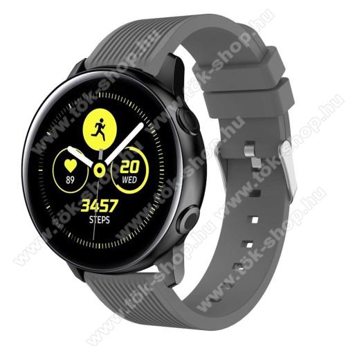 Okosóra szíj - szilikon, csíkos textúra mintás - SZÜRKE - 78mm + 95mm hosszú, 20mm széles, 139-214mm csuklóméretig ajánlott - SAMSUNG SM-R500 Galaxy Watch Active / SAMSUNG Galaxy Watch Active2 40mm / SAMSUNG Galaxy Watch Active2 44mm