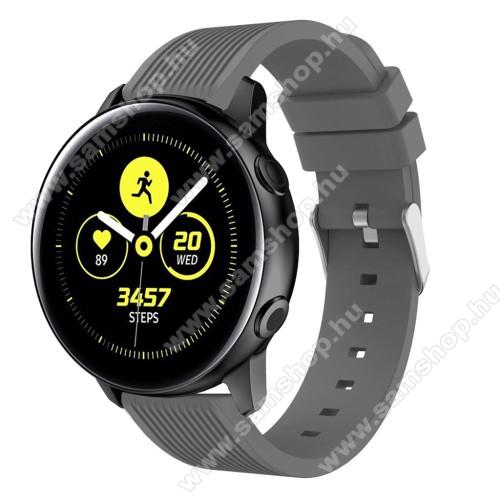SAMSUNG SM-R600 Galaxy Gear SportOkosóra szíj - szilikon, csíkos textúra mintás - SZÜRKE - 78mm + 95mm hosszú, 20mm széles, 139-214mm csuklóméretig ajánlott - SAMSUNG Galaxy Watch 42mm / Xiaomi Amazfit GTS / HUAWEI Watch GT / SAMSUNG Gear S2 / HUAWEI Watch GT 2 42mm / Galaxy Watch Active