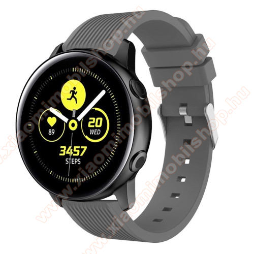 Xiaomi Amazfit Youth Edition Okosóra szíj - szilikon, csíkos textúra mintás - SZÜRKE - 78mm + 95mm hosszú, 20mm széles, 139-214mm csuklóméretig ajánlott - SAMSUNG Galaxy Watch 42mm / Xiaomi Amazfit GTS / HUAWEI Watch GT / SAMSUNG Gear S2 / HUAWEI Watch GT 2 42mm / Galaxy Watch Active