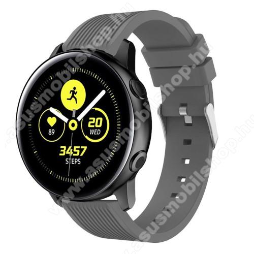 Okosóra szíj - szilikon, csíkos textúra mintás - SZÜRKE - 78mm + 95mm hosszú, 20mm széles, 139-214mm csuklóméretig ajánlott - SAMSUNG Galaxy Watch 42mm / Xiaomi Amazfit GTS / HUAWEI Watch GT / SAMSUNG Gear S2 / HUAWEI Watch GT 2 42mm / Galaxy Watch Active