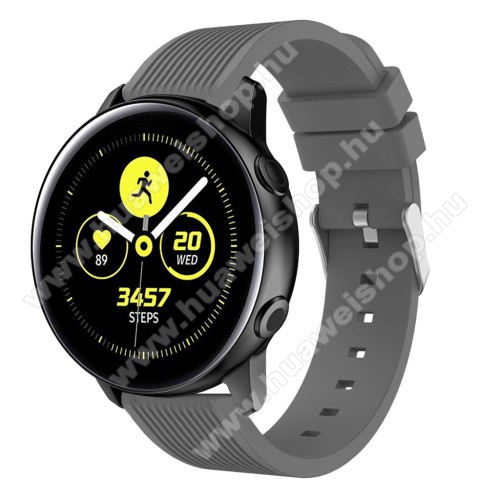 Okosóra szíj - szilikon, csíkos textúra mintás - SZÜRKE - 78mm + 95mm hosszú, 20mm széles, 139-214mm csuklóméretig ajánlott - SAMSUNG Galaxy Watch 42mm / Xiaomi Amazfit GTS / HUAWEI Watch GT / SAMSUNG Gear S2 / HUAWEI Watch GT 2 42mm / Galaxy Watch Active