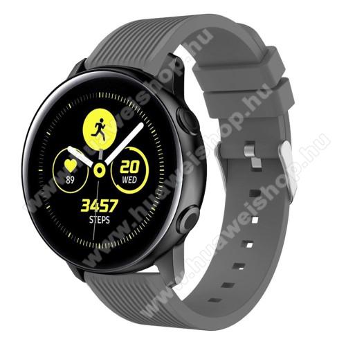 HUAWEI Watch GT 2 42mmOkosóra szíj - szilikon, csíkos textúra mintás - SZÜRKE - 78mm + 95mm hosszú, 20mm széles, 139-214mm csuklóméretig ajánlott - SAMSUNG Galaxy Watch 42mm / Xiaomi Amazfit GTS / HUAWEI Watch GT / SAMSUNG Gear S2 / HUAWEI Watch GT 2 42mm / Galaxy Watch Active