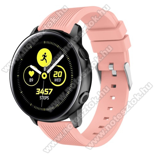 HUAWEI Honor MagicWatch 2 42mm Okosóra szíj - szilikon, csíkos textúra mintás - RÓZSASZÍN - 78mm + 95mm hosszú, 20mm széles, 139-214mm csuklóméretig ajánlott - SAMSUNG Galaxy Watch 42mm / Xiaomi Amazfit GTS / SAMSUNG Gear S2 / HUAWEI Watch GT 2 42mm / Galaxy Watch Active / Active 2
