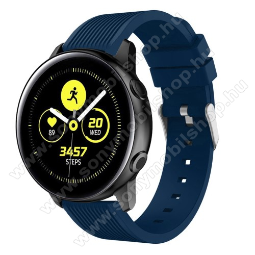 Okosóra szíj - szilikon, csíkos textúra mintás - KÉK - 78mm + 95mm hosszú, 20mm széles, 139-214mm csuklóméretig ajánlott - SAMSUNG Galaxy Watch 42mm / Xiaomi Amazfit GTS / SAMSUNG Gear S2 / HUAWEI Watch GT 2 42mm / Galaxy Watch Active / Active 2