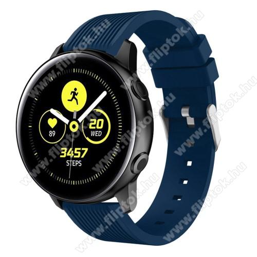 EVOLVEO SPORTWATCH M1SOkosóra szíj - szilikon, csíkos textúra mintás - KÉK - 78mm + 95mm hosszú, 20mm széles, 139-214mm csuklóméretig ajánlott - SAMSUNG Galaxy Watch 42mm / Xiaomi Amazfit GTS / SAMSUNG Gear S2 / HUAWEI Watch GT 2 42mm / Galaxy Watch Active / Active 2