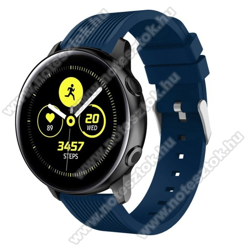 WOTCHI SmartWatch W22SOkosóra szíj - szilikon, csíkos textúra mintás - KÉK - 78mm + 95mm hosszú, 20mm széles, 139-214mm csuklóméretig ajánlott - SAMSUNG Galaxy Watch 42mm / Xiaomi Amazfit GTS / SAMSUNG Gear S2 / HUAWEI Watch GT 2 42mm / Galaxy Watch Active / Active 2