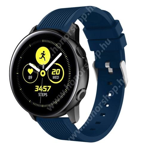 HUAWEI Watch GT 2 42mm Okosóra szíj - szilikon, csíkos textúra mintás - KÉK - 78mm + 95mm hosszú, 20mm széles, 139-214mm csuklóméretig ajánlott - SAMSUNG Galaxy Watch 42mm / Xiaomi Amazfit GTS / SAMSUNG Gear S2 / HUAWEI Watch GT 2 42mm / Galaxy Watch Active / Active 2
