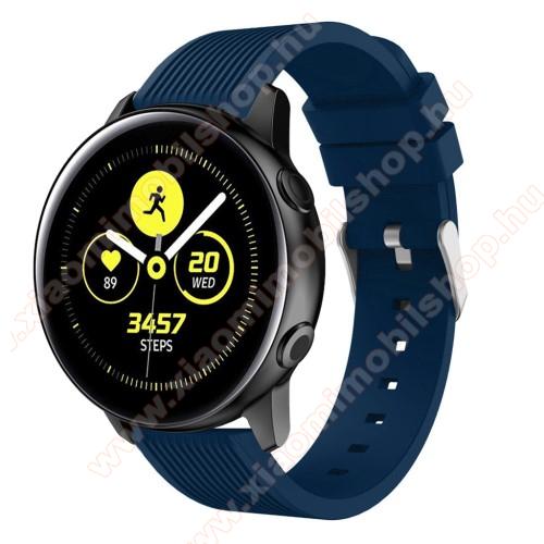 Xiaomi Amazfit Youth EditionOkosóra szíj - szilikon, csíkos textúra mintás - KÉK - 78mm + 95mm hosszú, 20mm széles, 139-214mm csuklóméretig ajánlott - SAMSUNG Galaxy Watch 42mm / Xiaomi Amazfit GTS / SAMSUNG Gear S2 / HUAWEI Watch GT 2 42mm / Galaxy Watch Active / Active 2