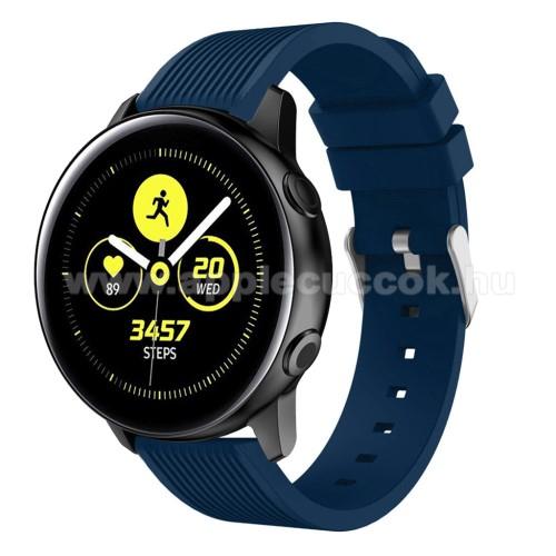 Okosóra szíj - szilikon, csíkos textúra mintás - KÉK - 78mm + 95mm hosszú, 18mm széles, 139-214mm csuklóméretig ajánlott - SAMSUNG SM-R500 Galaxy Watch Active / SAMSUNG Galaxy Watch Active2 40mm / SAMSUNG Galaxy Watch Active2 44mm