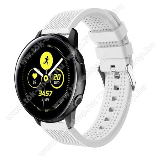 Okosóra szíj - szilikon, csíkos textúra mintás - FEHÉR - 128mm+ 85mm hosszú, 20mm széles, 135-215mm csuklóméretig ajánlott - SAMSUNG SM-R500 Galaxy Watch Active / SAMSUNG Galaxy Watch Active2 40mm / SAMSUNG Galaxy Watch Active2 44mm