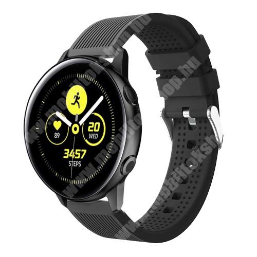 Okosóra szíj - szilikon, csíkos textúra mintás - FEKETE - 128mm+ 85mm hosszú, 20mm széles, 135-215mm csuklóméretig ajánlott - SAMSUNG SM-R500 Galaxy Watch Active / SAMSUNG Galaxy Watch Active2 40mm / SAMSUNG Galaxy Watch Active2 44mm