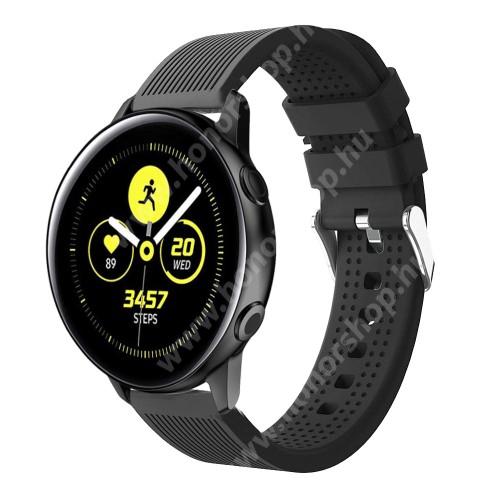 HUAWEI Honor MagicWatch 2 42mm Okosóra szíj - szilikon, csíkos textúra mintás - FEKETE - 128mm+ 85mm hosszú, 20mm széles, 135-215mm csuklóméretig ajánlott - SAMSUNG Galaxy Watch 42mm / Xiaomi Amazfit GTS / SAMSUNG Gear S2 / HUAWEI Watch GT 2 42mm / Galaxy Watch Active / Active 2