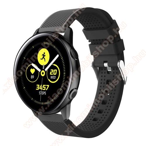 Huami Amazfit Youth Edition LiteOkosóra szíj - szilikon, csíkos textúra mintás - FEKETE - 128mm+ 85mm hosszú, 20mm széles, 135-215mm csuklóméretig ajánlott - SAMSUNG Galaxy Watch 42mm / Xiaomi Amazfit GTS / SAMSUNG Gear S2 / HUAWEI Watch GT 2 42mm / Galaxy Watch Active / Active 2
