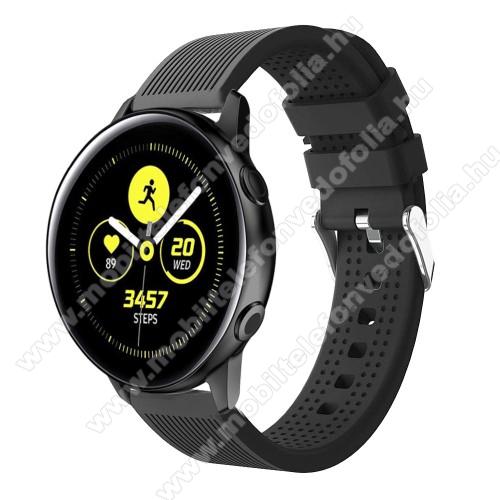 Garmin VenuOkosóra szíj - szilikon, csíkos textúra mintás - FEKETE - 128mm+ 85mm hosszú, 20mm széles, 135-215mm csuklóméretig ajánlott - SAMSUNG Galaxy Watch 42mm / Xiaomi Amazfit GTS / SAMSUNG Gear S2 / HUAWEI Watch GT 2 42mm / Galaxy Watch Active / Active 2