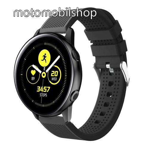 Okosóra szíj - szilikon, csíkos textúra mintás - FEKETE - 128mm+ 85mm hosszú, 20mm széles, 135-215mm csuklóméretig ajánlott - SAMSUNG Galaxy Watch 42mm / Xiaomi Amazfit GTS / SAMSUNG Gear S2 / HUAWEI Watch GT 2 42mm / Galaxy Watch Active / Active 2