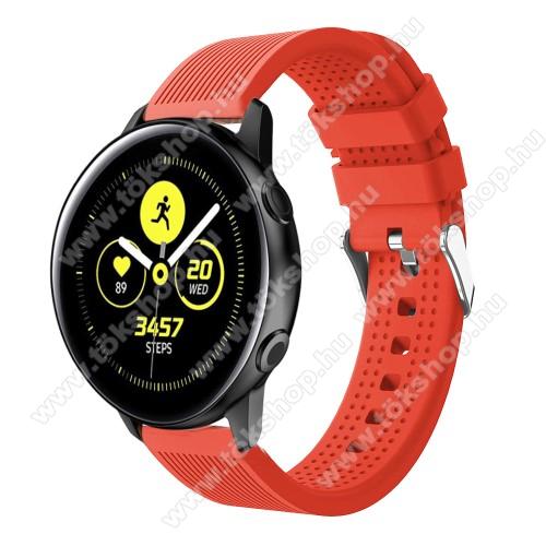 Okosóra szíj - szilikon, csíkos textúra mintás - NARANCS - 128mm+ 85mm hosszú, 20mm széles, 135-215mm csuklóméretig ajánlott - SAMSUNG Galaxy Watch 42mm / Xiaomi Amazfit GTS / HUAWEI Watch GT / SAMSUNG Gear S2 / HUAWEI Watch GT 2 42mm / Galaxy Watch Activ