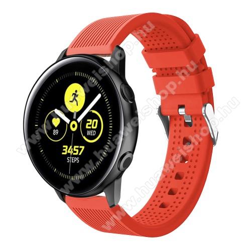 HUAWEI Watch GT 2 42mmOkosóra szíj - szilikon, csíkos textúra mintás - NARANCS - 128mm+ 85mm hosszú, 20mm széles, 135-215mm csuklóméretig ajánlott - SAMSUNG Galaxy Watch 42mm / Xiaomi Amazfit GTS / HUAWEI Watch GT / SAMSUNG Gear S2 / HUAWEI Watch GT 2 42mm / Galaxy Watch Activ