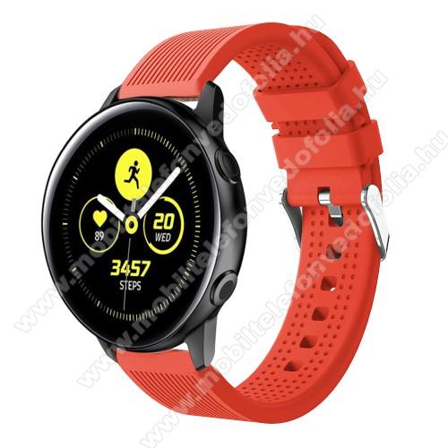 Garmin VenuOkosóra szíj - szilikon, csíkos textúra mintás - NARANCS - 128mm+ 85mm hosszú, 20mm széles, 135-215mm csuklóméretig ajánlott - SAMSUNG Galaxy Watch 42mm / Xiaomi Amazfit GTS / SAMSUNG Gear S2 / HUAWEI Watch GT 2 42mm / Galaxy Watch Active / Active 2