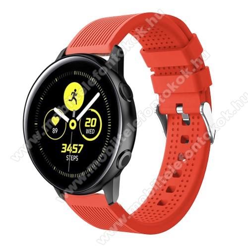 Xiaomi Amazfit NeoOkosóra szíj - szilikon, csíkos textúra mintás - NARANCS - 128mm+ 85mm hosszú, 20mm széles, 135-215mm csuklóméretig ajánlott - SAMSUNG Galaxy Watch 42mm / Xiaomi Amazfit GTS / SAMSUNG Gear S2 / HUAWEI Watch GT 2 42mm / Galaxy Watch Active / Active 2