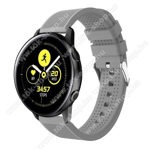 Okosóra szíj - szilikon, csíkos textúra mintás - SZÜRKE - 128mm+ 85mm hosszú, 20mm széles, 135-215mm csuklóméretig ajánlott - SAMSUNG SM-R500 Galaxy Watch Active / SAMSUNG Galaxy Watch Active2 40mm / SAMSUNG Galaxy Watch Active2 44mm