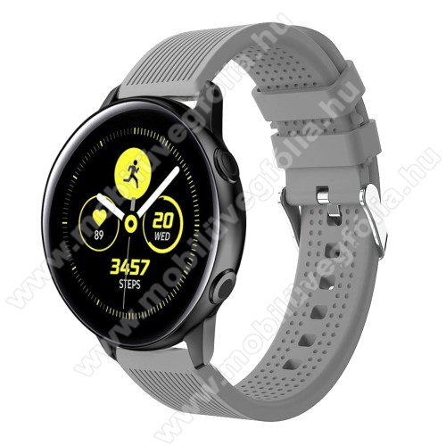HUAWEI MagicWatch 2 42mm Okosóra szíj - szilikon, csíkos textúra mintás - SZÜRKE - 128mm+ 85mm hosszú, 20mm széles, 135-215mm csuklóméretig ajánlott - SAMSUNG Galaxy Watch 42mm / Xiaomi Amazfit GTS / HUAWEI Watch GT / SAMSUNG Gear S2 / HUAWEI Watch GT 2 42mm / Galaxy Watch Active
