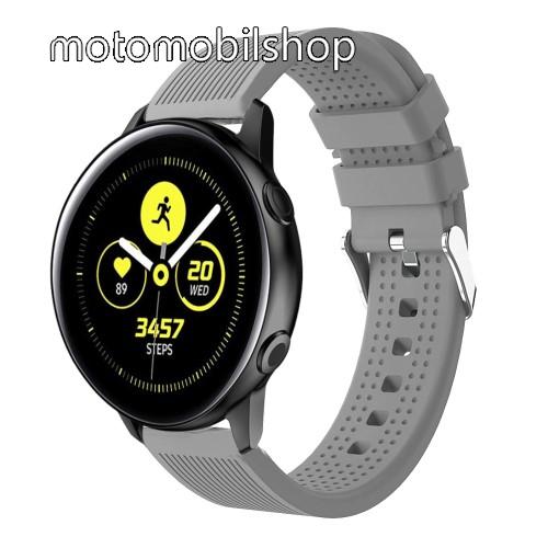 Okosóra szíj - szilikon, csíkos textúra mintás - SZÜRKE - 128mm+ 85mm hosszú, 20mm széles, 135-215mm csuklóméretig ajánlott - SAMSUNG Galaxy Watch 42mm / Xiaomi Amazfit GTS / HUAWEI Watch GT / SAMSUNG Gear S2 / HUAWEI Watch GT 2 42mm / Galaxy Watch Active